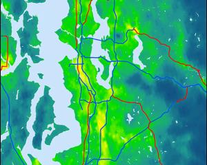 Map showing concentrations of fine particulate matter (PM 2.5) in the Puget Sound
